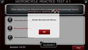Motorcycle Test Answer